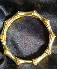 Vintage KJL  Kenneth Jay Lane  Gold plated Bamboo Bangle Bracelet