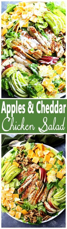 Apples and Cheddar Chicken Salad - Apples, cheddar cheese and walnuts pack a del. CLICK Image for full details Apples and Cheddar Chicken Salad - Apples, cheddar cheese and walnuts pack a delicious crunchy bite in this . Healthy Salads, Healthy Eating, Healthy Recipes, Apple Recipes, Chicken Salad Recipes, Chicken Meals, Summer Salads, Soup And Salad, Salad Bar