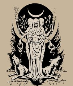 I love Hecate and all of the spooky associations she has. Hecate is Goddess of crossroads, the night, magic, . Hecate Goddess, Goddess Art, Wolf Goddess, Pagan Art, Occult Art, Symbole Viking, Witch Tattoo, Goddess Tattoo, Bild Tattoos