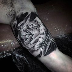 Blackwork Pocket Watch Tattoo by Todd Bailey