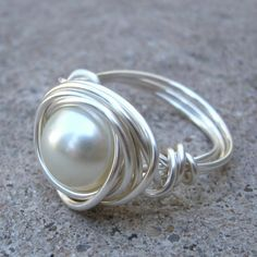 Pearl Ring - CUSTOM RING - Silver Ring, Wire Wrapped Elegance, Made to Order CUSTOMIZED Ring. $12.00, via Etsy.