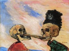 James Ensor. Skeletons Fighting over a Pickled Herring (1891).