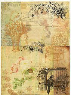 Rice Paper for Decoupage, Scrapbook Sheet, Craft Paper Vintage Garden