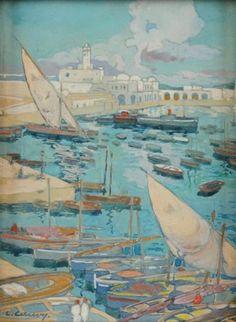 Léon Cauvy (Montpellier 1874 -- Alger 1933) Titre « Le Port d'Alger »