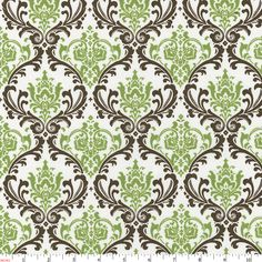 Sage Damask Fabric by Carousel Designs.