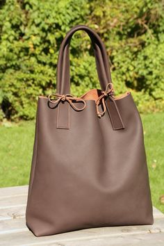Just Custom Handbags - Listings View Brown Leather Tote Bag Large Leather Shopper Unique Shoulder Bag Strong Market Shopper Everyday Tote Bag.  #handmadehandbag #handbags #womenhandbag #womenfashion