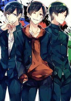 Osomatsu-san- Osomatsu, Karamatsu, y Choromatsu Gato Anime, Anime Chibi, Anime Art, Cute Anime Guys, Anime Love, Onii San, Osomatsu San Doujinshi, Otaku, Ichimatsu