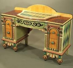 Gorgeous handpainted desk.  I would love to sew on top of this,