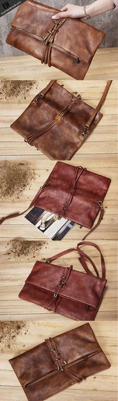 Handmade Leather clutch purse shoulder bag for women leather