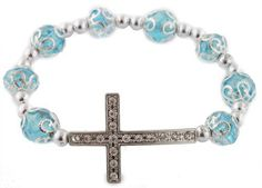 2 Pieces of Blue Iced Out Sideways Cross Ornamental Style Beaded Stretch Bracelet (bestseller)