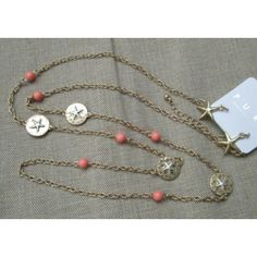 """Long Gold 36"""" Chain Layer Necklace Starfish Accent Medallions Coral Bead Earring Beach Jewelry Set"""