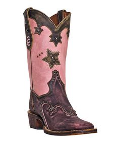 Look at this Dan Post Pink Studded Vintage Star Leather Cowboy Boot on #zulily today!