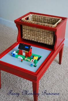 Retro end table repurposed into child's play lego table with storage basket; Upcycle, Recycle, Salvage, diy, thrift, flea, repurpose!  For vintage ideas and goods shop at Estate ReSale & ReDesign, Bonita Springs, FL