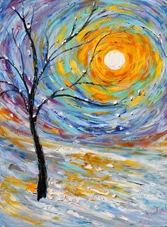 Items similar to Original oil painting Winter's Joy Landscape Palette knife modern impressionism impasto fine art by Karen Tarlton on Etsy. ,