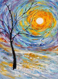Items similar to Original oil painting Winter's Joy Landscape Palette knife modern impressionism impasto fine art by Karen Tarlton on Etsy. ,