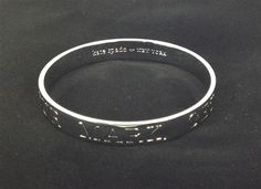 Kate Spade New York 'On Your Mark, Get Jet Set, Go' Idiom Bangle Bracelet, Silver