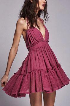 Boho Halter Ruffle A-line Backless Sundress – Simple Craze Ruffle Dress, Boho Dress, Ruffles, Prom Party Dresses, Prom Dress, Mini Dresses, Backless Mini Dress, Short Sleeve Dresses, Dresses With Sleeves