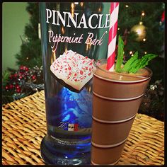 #7 is the Pinnacle® Peppermint Bark chocolate shake 1 part Pinnacle® Peppermint Bark Vodka 1 part Half and Half 3 scoops Chocolate ice cream Blend together until smooth, pour into a festive glass and top with some mint.