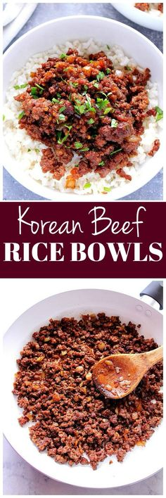 Korean Beef Rice Bowls Recipe - one of the easiest Asian recipes to make with ground beef. Caramelized saucy meat served over rice comes together in under 20 minutes!