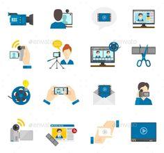 Flat Icon Video Blog #design Download: http://graphicriver.net/item/flat-icon-video-blog/11128914?ref=ksioks