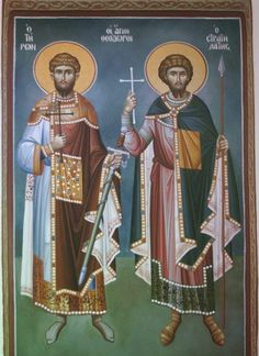 The Holy Martyr Theodore the Recruit and another saint. Byzantine Icons, Orthodox Icons, Fresco, Saints, Projects, Movie Posters, Art, Icons, Log Projects