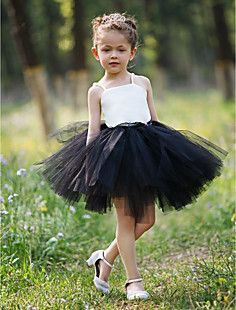 Ball Gown Straps Short/Mini Satin And Tulle Tutu Dress/Flowe... – USD $ 34.99