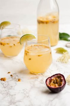 Passionfruit and Elderflower Fizz - a fruity and fragrant drink that's perfect for summer and so quick to make! | Eat Love Eats