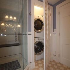 Love the idea of a stackable washer and dryer in the master bathroom in addition to a regular laundry room.