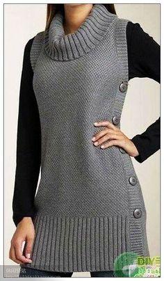 Купить Жилетик Коричневый На Пуговках - - maallure in 2020 Diy Crafts Dress, Diy Dress, Crochet Tunic, Crochet Clothes, Crochet Outfits, Baby Knitting Patterns, Knitting Stitches, Knitting Ideas, Diy Crafts Knitting