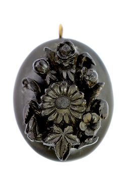 Antique Victorian Carved Black Whitby Jet Mourning Locket Pendant