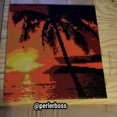 Sunset tropical beach scene perler bead art by perlerboss