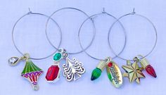 Christmas Wine Charms in Bright Colors by TheWineStoppers on Etsy