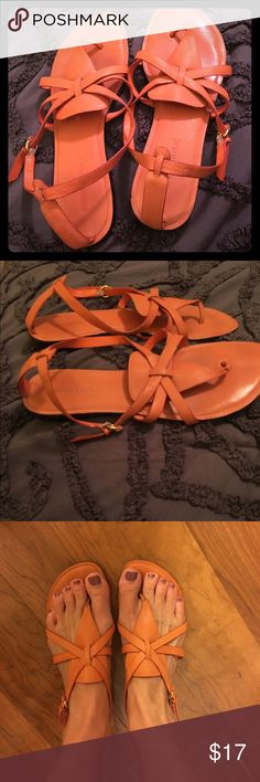 Soft leather sandals from Banana Republic Size 9. Soft orange leather. Super comfy!! Only worn once... I love them but can't wear flat shoes often due to high arches. These are fun to wear with denim, white and navy! You will love these!! Banana Republic Shoes Sandals