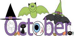 Fun month of October Halloween scene clip art calendar topper