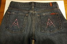 """7 Seven For All Mankind Pink Stitched """"A"""" Pocket Flare Denim Women's Jeans 28 #7ForAllMankind #BootCut $34"""