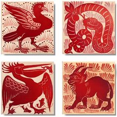 Handmade Victorian Animal-themed Wall Tiles by William De Morgan with Ruby Lustre finish