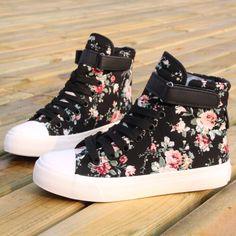 Floral high top converse