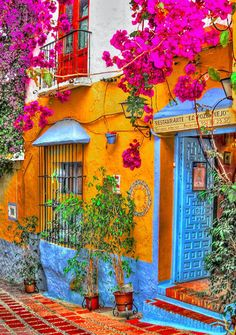 I love the stunning colours on this building. [Credit: Restorante El Pozo Viejo in Marbella, Spain The Places Youll Go, Places To Go, Beautiful World, Beautiful Places, Beautiful Streets, Wonderful Places, Colourful Buildings, Colorful Houses, Colourful Garden