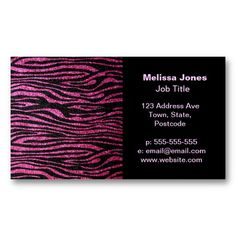 Pink and Black Zebra Print Bling (faux glitter) Business Card