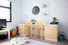 5-vuotiaan pojan huone - Valkoinen Harmaja - he wants a desk