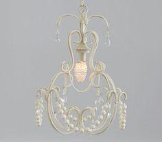 I love the White Beaded Chandelier on potterybarnkids.com