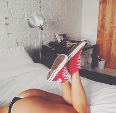 Red Converse, Red Lingerie, Wild Child, All Star, Footwear, Cozy, Stars, Children, How To Wear