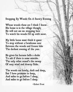 Stopping by Woods on a Snowy Evening Robert Frost Poem  | Etsy