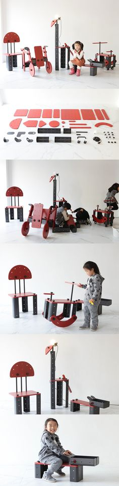 The Toniture (Toy + Furniture) project, developed by Design Studio G280, gives children an experience like no other – the ability to build their own furniture. The child can build their own objects by stacking, joining and assembling each unit with the possibility of creating desks, chairs and shelves with these modular components.