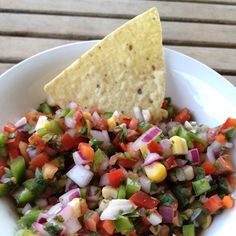 summer salsa  I think I might add a cup of black beans to this