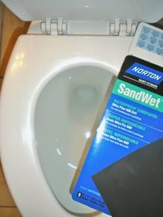 Sand paper to scrub toilet stains! Wonder how well it would work for horrible hard water build up