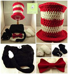 Photography Prop Crochet Cat in the Hat Set  Made to by FannieLous, £25.00