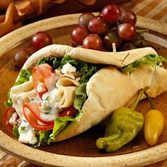 Greek-inspired Cucumber Chicken Pita Sandwiches. This looks amazing and something to make for those hot summer days when you don't want to heat up the kitchen.