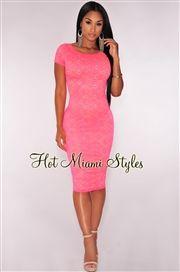 Neon Pink Lace Nude Illusion Midi Dress