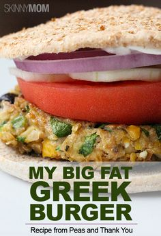 My Big Fat Greek Burger! Enjoy this healthy and delicious recipe provided by Peas and Thank You :) Repin for your next burger night!